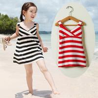 Beach Dress Hot sale 2014 Spring Summer Children Clothing Baby Girls Clothes Cotton Striped Dress Kids Frozen Dress