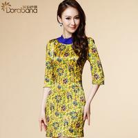 Dora 2014 women's gauze fashion ol one-piece dress slim half sleeve skirt step silk  Free shipping