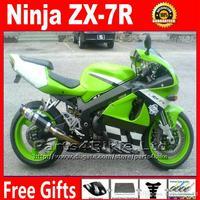 Custom plastic Fairing kit for 96-03 ZX-7R Kawasaki Ninja ZX 7R 1996 - 2003 green black ZX7R ABS fairings bodywork set Yr23 +7 g
