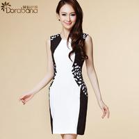 Dora 2014 summer women's banquet white collar fashion OL outfit short-sleeve dress slim  Free shipping