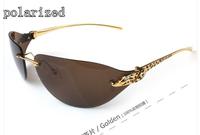 Luxury brand metal polarized sunglasses for men driver mirror new men's head rhinestone leopard rimless sunglasses 110
