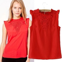 Fashion women's 2014 lace decorative pattern t-shirt