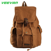 VEEVAN  Military Canvas Backpack Vintage Women And Men's Backpack School Book Laptop Bag Travel Lover Rucksack Genuine Leathe