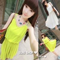 Chiffon dress 2014 new female pleated dress temperament summer in fresh sweet sleeveless vest dress free shipping