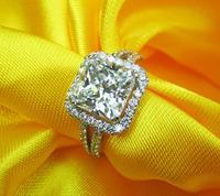 Princess Cut Wedding Bands Rings For Women Princess Cut 5 Sona Diamond Big Sterling Silver Women Rings Wedding Jewelry