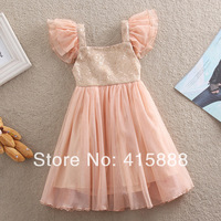 2014 Summer Girls Frozen Dresses Kid clothing Girls Sequin Flying Sleeve Sparkle Yarn Knee Length Party Dresses,5pcs/lot,2-7Y.