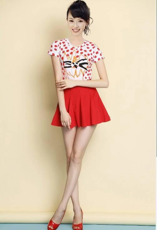 mostrar mulheres estilo 2014 red dot impressão tshirt+red saia 2 pcs senhora terno desgaste do escritório de moda feminino 2 pcs conjunto terno longsleeve(China (Mainland))