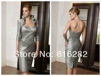 2014 New Fashion Sheath Sweetheart Knee-Length Sleeveless Taffete Mother Of The Bride Dress And Jacket With Sequins
