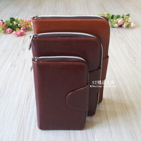 Fashion genuine leather commercial zipper bag leather tsmip loose-leaf office stationery customize logo