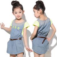 free shipping Children's clothing girl's new arrival one-piece dress summer summer child denim dress princess dress