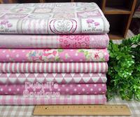 Pink 7 Assorted Pre-Cut Cotton Linen Quality Quilt Fabric Fat Quarter Tissue Bundle Charm Sewing Handmade Textile Cloth 70x50cm