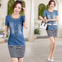 2014 women's stripe belt bubble short-sleeve dress slim denim one-piece dress