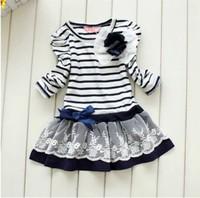 Princess dress stripe of the girls Children dress[240866]