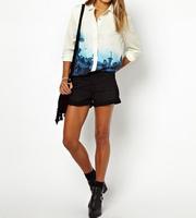 2014 Hot Sale Women's European Floral Print Gradient Color Long Sleeve Shirt for Spring/Autumn 25j-CE1431