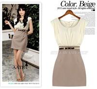 Wite Belt!2014 New Summer Office Women Elegance Chiffon Vest Dresses Patchwork Sleeveless Vestidos  Black Beige L/XL Y03003