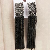 Free shipping ! Fashion retro black  tassel drop earrings for women