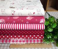 Red 6 Assorted Pre-Cut Cotton Linen Quality Quilt Fabric Fat Quarter Tissue Bundle Charm Sewing Handmade Textile Cloth 70x50cm