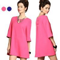 2014 Hot Sale Women's European Sweet Solid Three-Quarter-Sleeve Dress Round Neck Spring/Summer  25j-CE2727