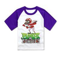 Child clothes plants vs zombies t-shirt child plants vs . zoombies baseball running t-shirt child clothing
