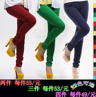 2014 spring elastic candy color elastic waist female skinny legging pants mm