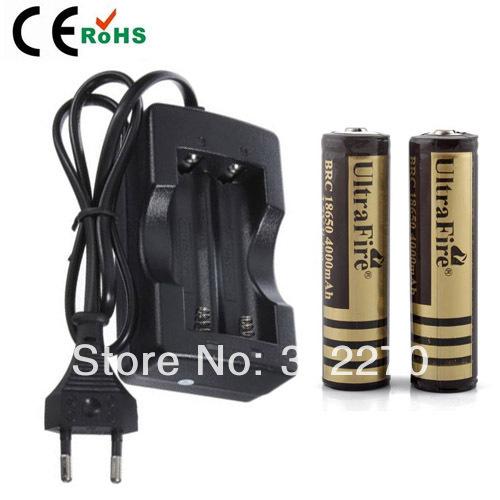 Free shipping 18650 Travel Battery Charger EU Plug +2x Ultrafire 18650 4000MAH Li-ion Rechargeable Battery(China (Mainland))