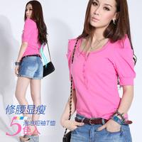 2014 buckle o-neck puff sleeve short-sleeve T-shirt female slim basic shirt female