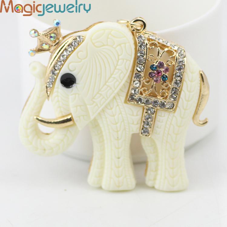 New Novelty Items Fashion Rhinestone Animal Crown White Elephant Keychain Keyring Trinket Gift Souvenir Decoration Free Shipping(China (Mainland))