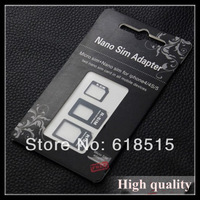 Hot sell 3 IN 1 Nano to Micro Mini Sim card adapter for iphone 5 Fast Shipping