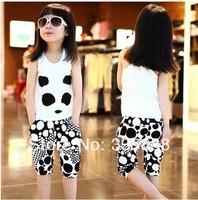 2014 New Arrival summer suit panda vest t-shirt + short pants Cotton modal set/baby casual outdoor sports suit Free Shipping