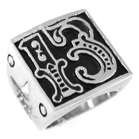 Free Shipping! Lucky 13 Ring Motor Biker Ring Stainless Steel Jewelry Punk Star Ring SWR0161