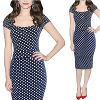 2014 New Style European Slim Over-Hip Sexy Short Sleeve Pencil Dress White Dot Knee Length Dress 30j-CE2696