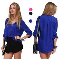 2014 Women's European V-neck Long Sleeve Half Sleeve Solid Shirt for Spring/Summer 25j-CE2731
