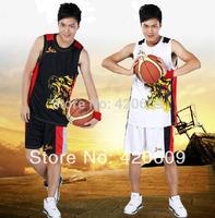 Free Shipping Fire Wolf Basketball Suit Men Madman Sport Uniform Fashion Black/White Training Jersey+Shorts 1 Set