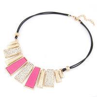 Fashion metal fashion all-match diamond-studded tassel brief bars leather short design necklace Women