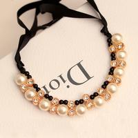 On0302 ladies elegant necklace luxury sparkling diamond pearl ribbon necklace female short