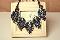 Fashion leaves style navy blue rhinestone false collar necklace lq-073