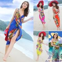 2014 Summer Promote Women Cover Up Sarong Sexy Hawaiian Beach Dress Bikini Set Casual Dresses Deep V Wrap Chiffon Swimwear 01144