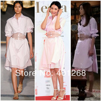2014 New Runway long sleeve stretch cotton shirts Dress with belt  womens Dresses fashion  evening party dress L328