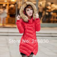 2014 New Arrival Female Long-Sleeved Warm Fur Collars Eiderdown Cotton Coat High Quality Women's Winter Leisure Coat