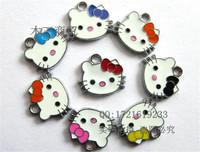 Mix 19x16mm lovely KT cat mobile phone pendant handmade bracelet beads bulk, bow hello kitty metal pendant charm  jewelry making
