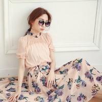 2014 summer new fashion women clothing casual maxi dress vintage elegant Bohemian print ruffles chiffon long dress dresses