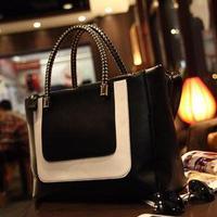 Fashion black-and-white 2013 colorant match leather fashion bag women's handbag one shoulder cross-body women's handbag bag