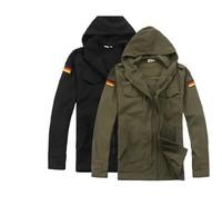 German Army fans outdoor design Velcro windbreaker jacket hooded black free shipping 8004