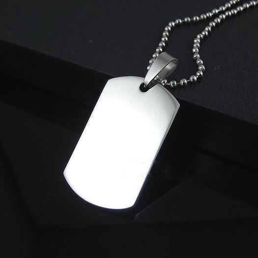 Free Chain Fashion Men's Titanium 316L Stainless Steel Dog Tag Pendant Necklaces(N0007)(China (Mainland))