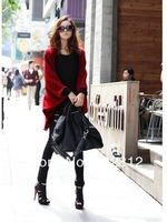 New spring and summer batwing coat shawl sweater knit cardigan loose plus size long coat