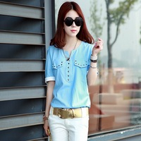 2014 female chiffon shirt short-sleeve shirt V-neck casual fashion loose top