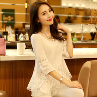2014 summer women's elegant lace shirt three quarter sleeve o-neck plus size lace chiffon shirt female