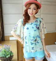 2014 summer women's faux two piece short-sleeve butterfly flower chiffon top plus size loose chiffon shirt