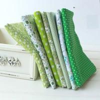 50CMx50CM 7pcs/lot super deals green designer cotton cloth diy patchwork fabric Sewing Fat Quaters Tilda home textile zakka