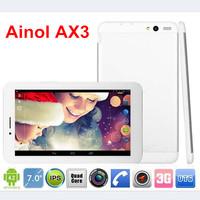 Ainol AX3 3G tablet pc 7inch IPS MTK8382 Quad Core 1.3GHz 1GB RAM 16GB GPS FM Bluetooth DUAL SIM Phone call Free shipping